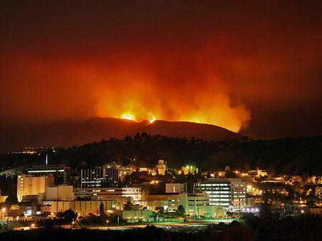 Fire above JPL
